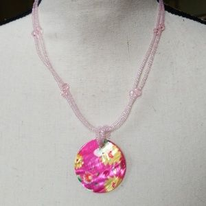 Vintage Shell Pendant Beaded Hippie Necklace